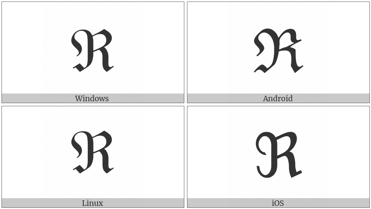 Black-Letter Capital R on various operating systems