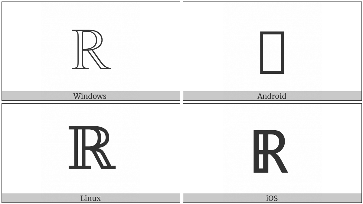 Double-Struck Capital R on various operating systems