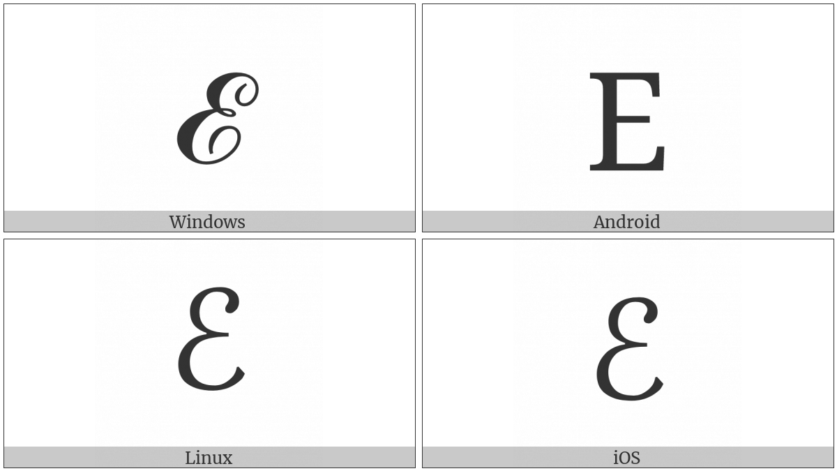 Script Capital E on various operating systems