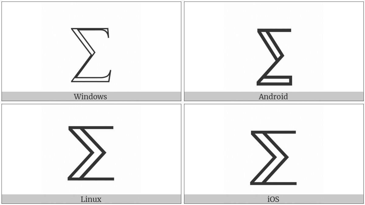 Double-Struck N-Ary Summation on various operating systems