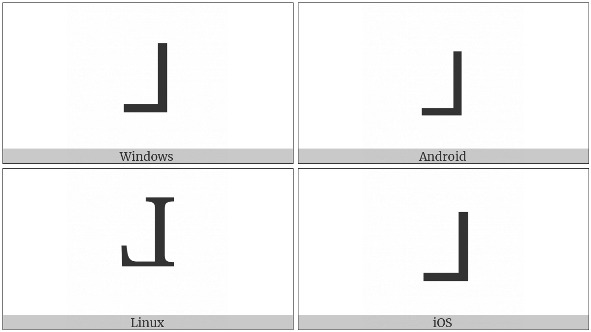 Reversed Sans-Serif Capital L on various operating systems