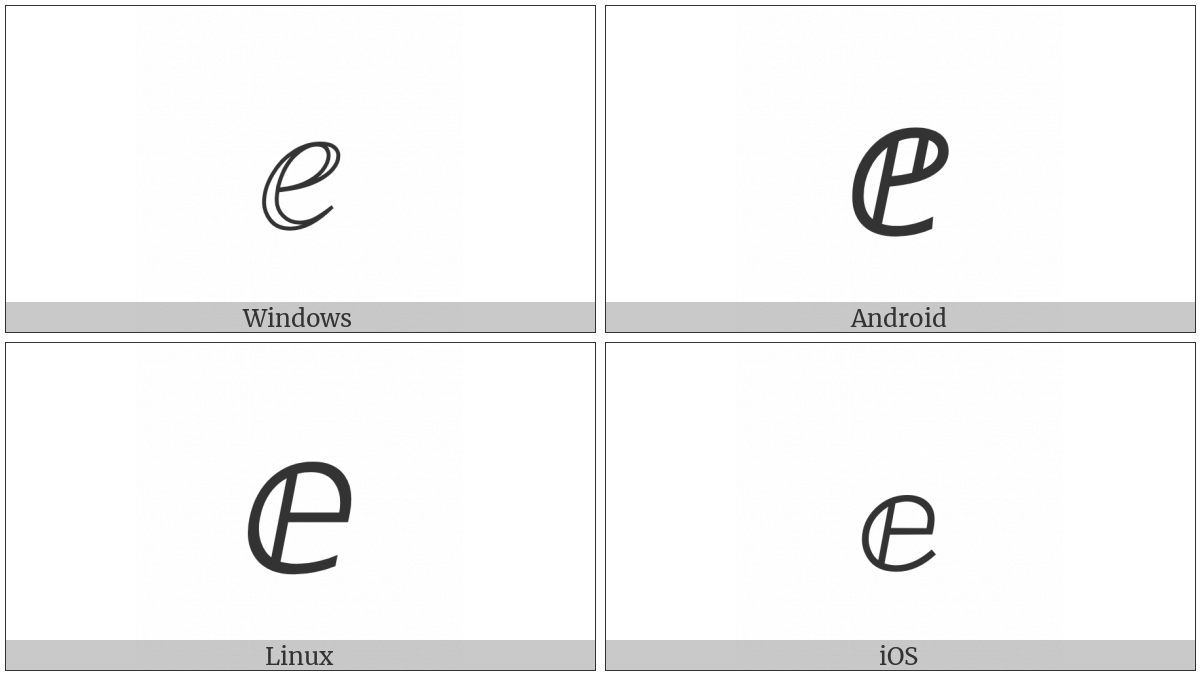 Double-Struck Italic Small E on various operating systems
