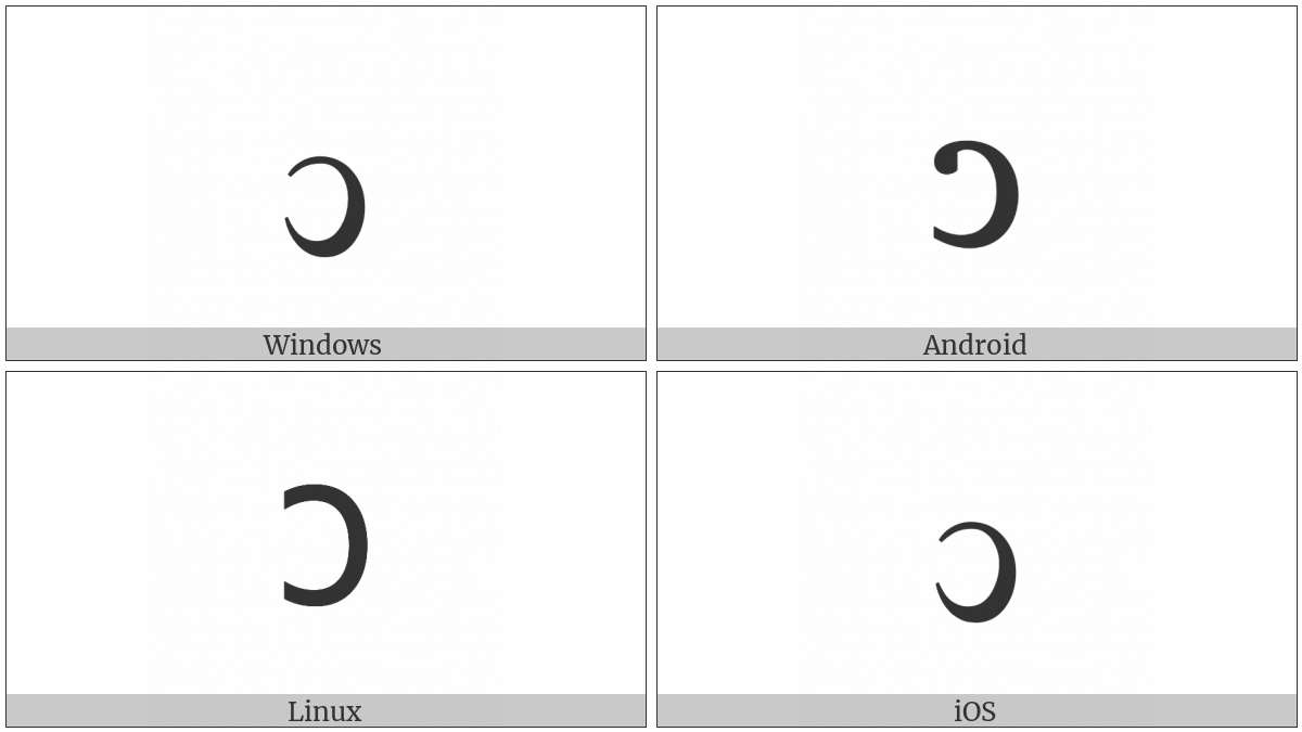 Latin small letter reversed c utf 8 icons latin small letter reversed c on various operating systems biocorpaavc Images