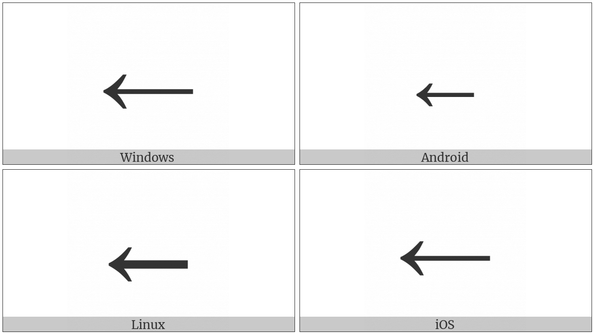 Leftwards Arrow on various operating systems
