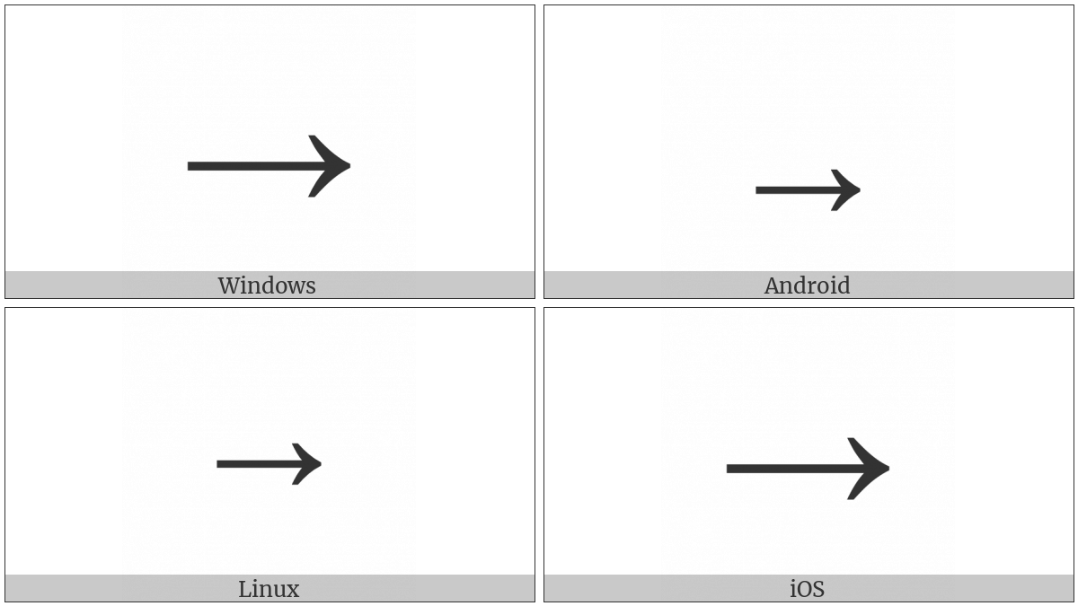 Rightwards Arrow on various operating systems