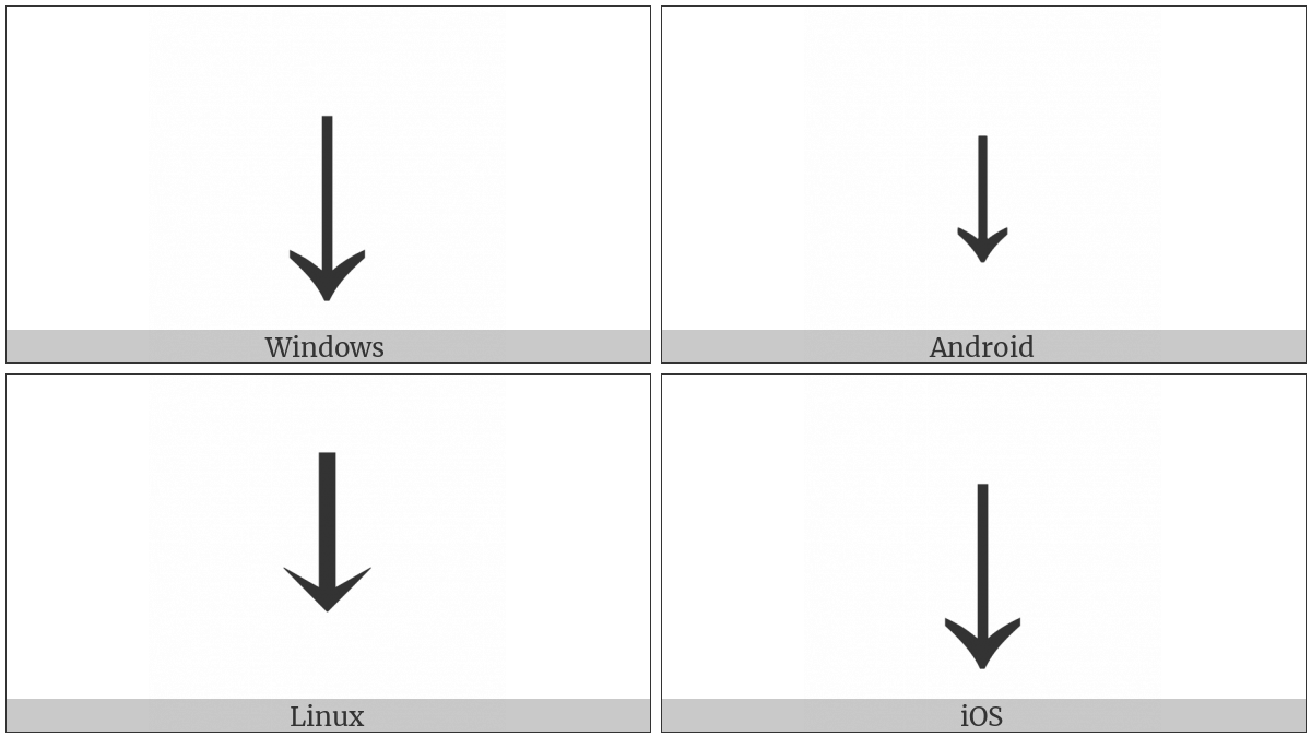 Downwards Arrow on various operating systems