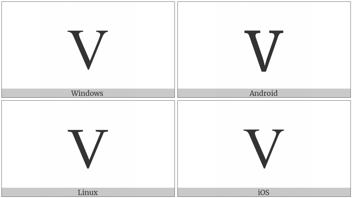 Latin Capital Letter V on various operating systems
