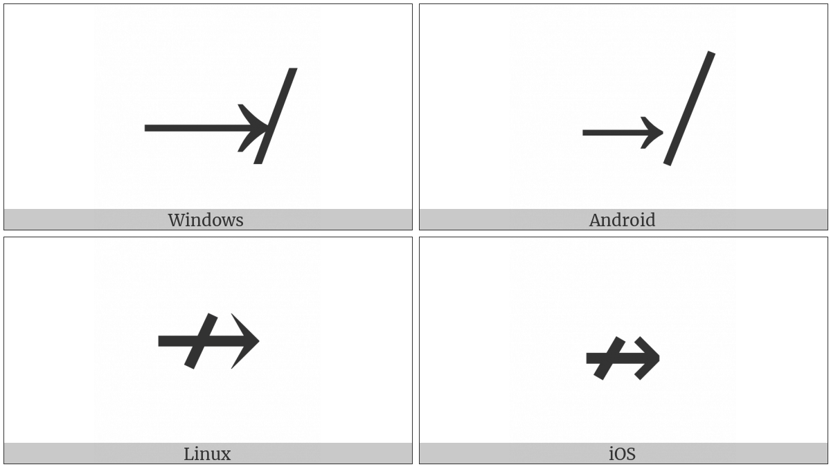 Rightwards Arrow With Stroke on various operating systems