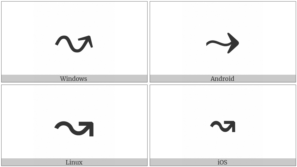 Rightwards Wave Arrow on various operating systems