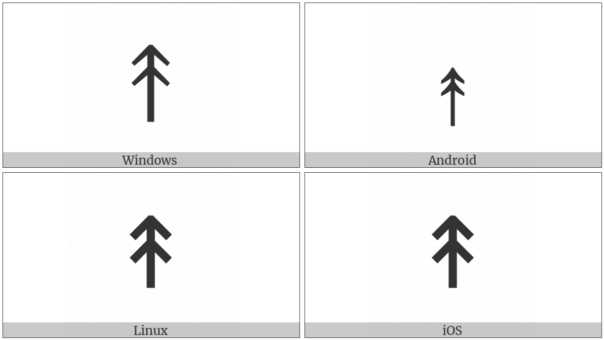 Upwards Two Headed Arrow on various operating systems
