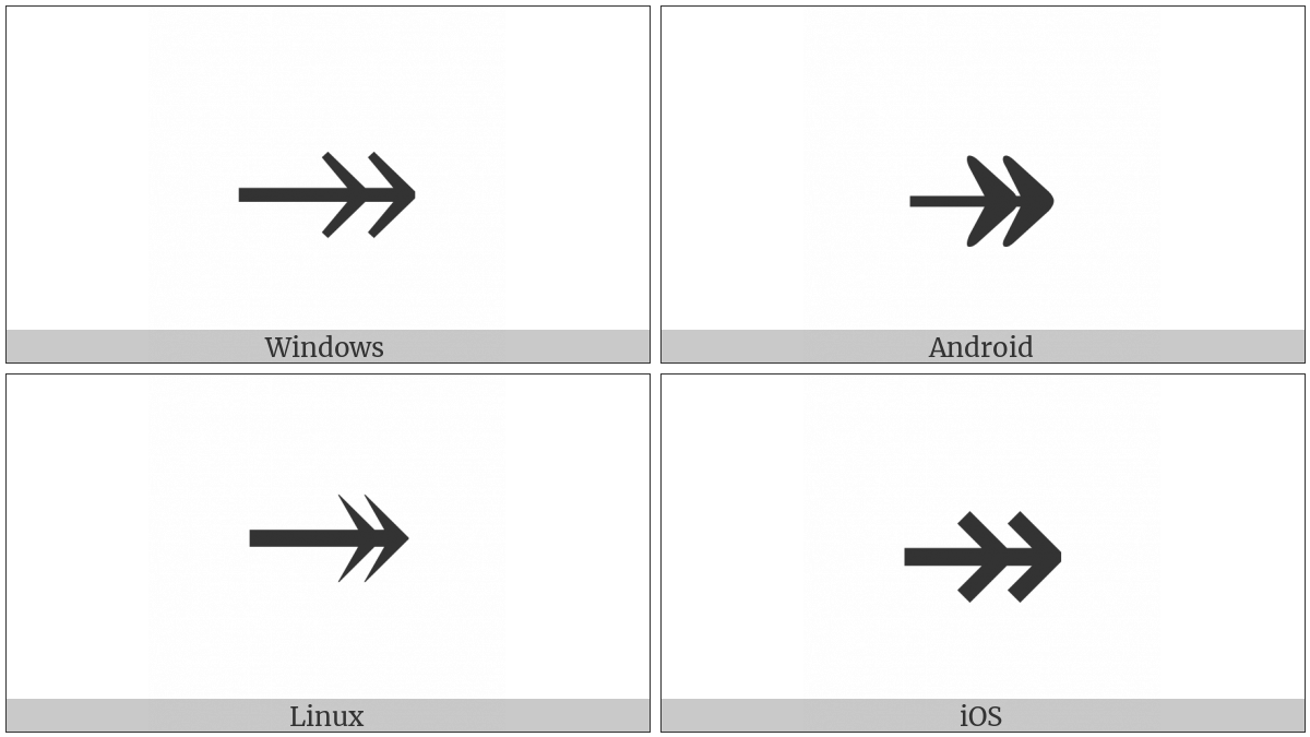 Rightwards Two Headed Arrow on various operating systems