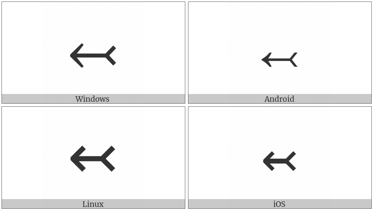 Leftwards Arrow With Tail on various operating systems