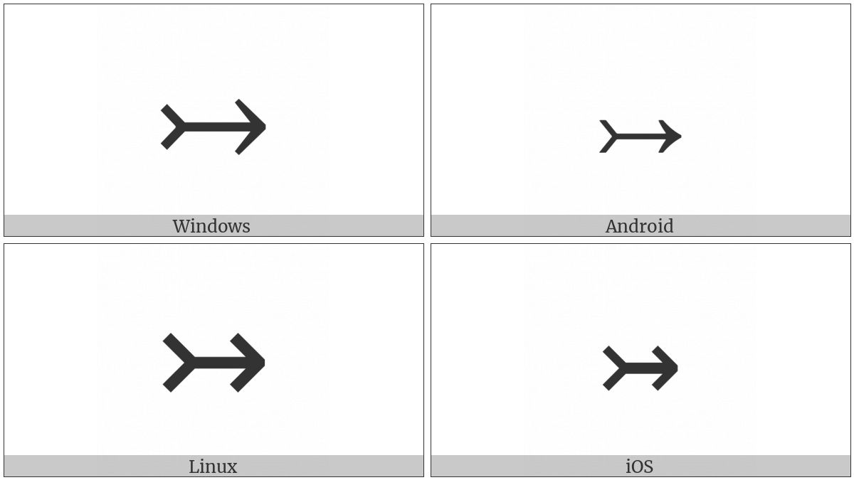Rightwards Arrow With Tail on various operating systems