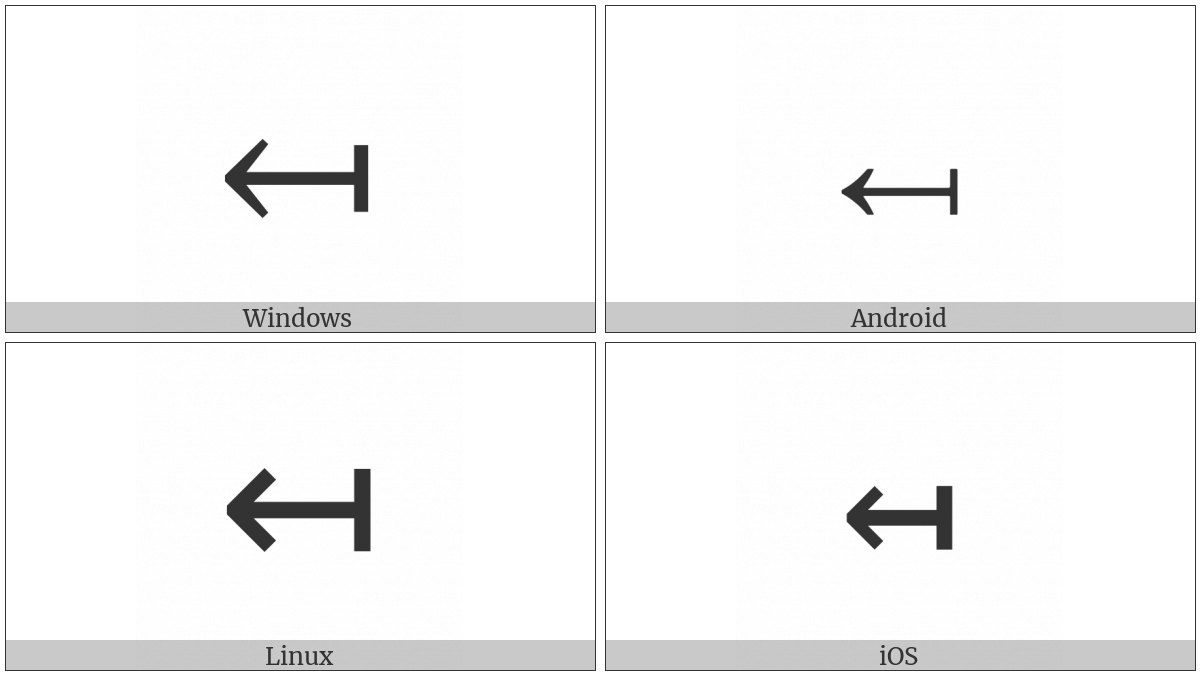 Leftwards Arrow From Bar on various operating systems