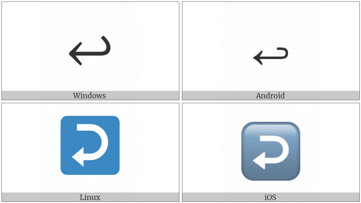 Leftwards Arrow With Hook on various operating systems