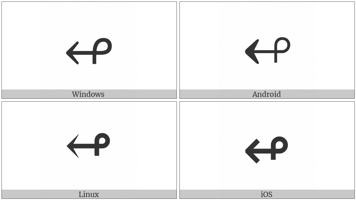 Leftwards Arrow With Loop on various operating systems