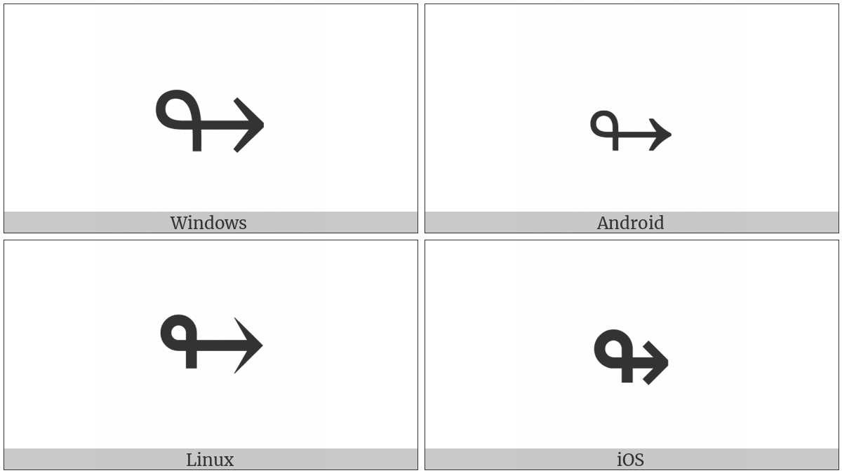Rightwards Arrow With Loop on various operating systems