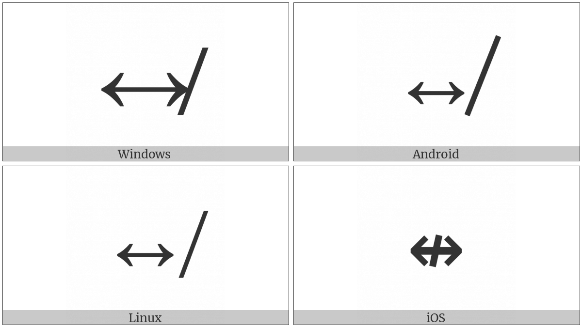 Left Right Arrow With Stroke on various operating systems