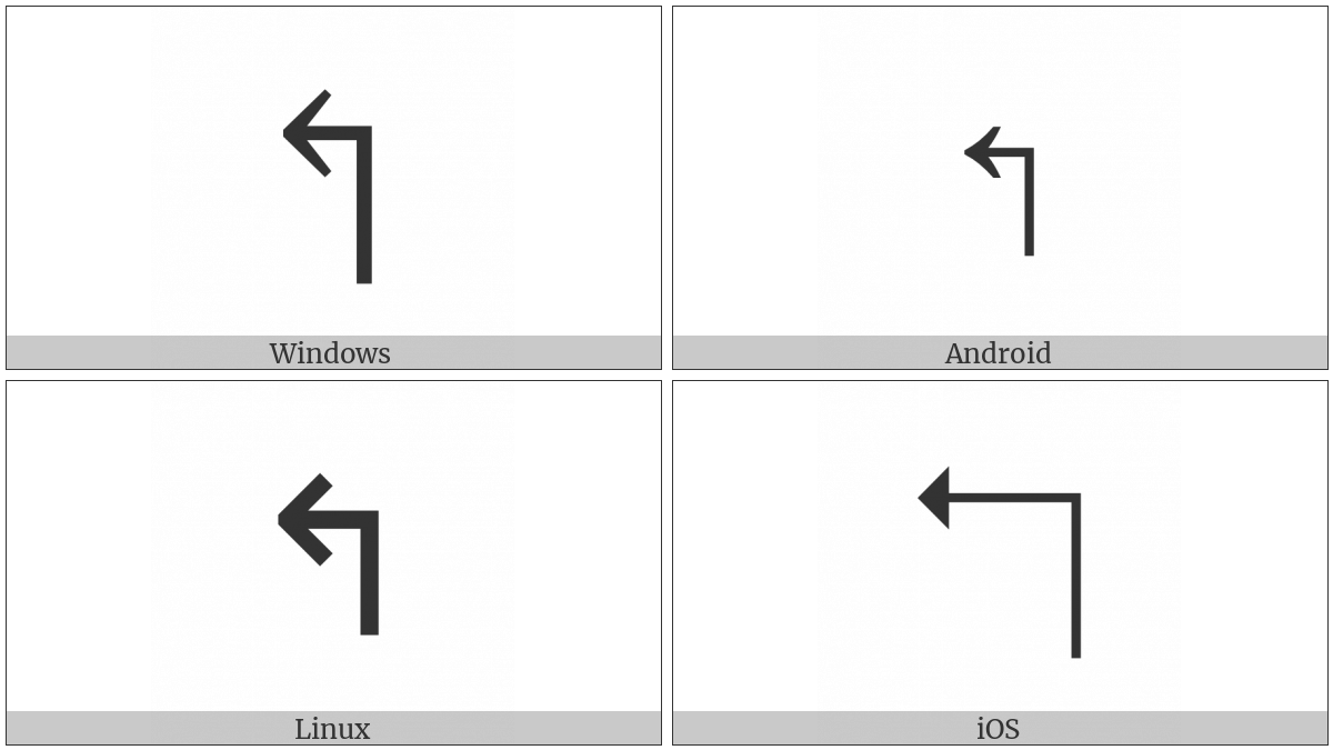 Upwards Arrow With Tip Leftwards on various operating systems
