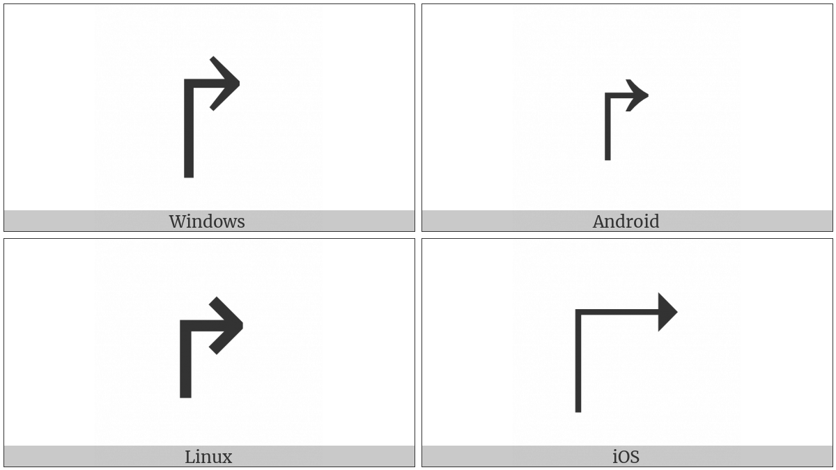 Upwards Arrow With Tip Rightwards on various operating systems