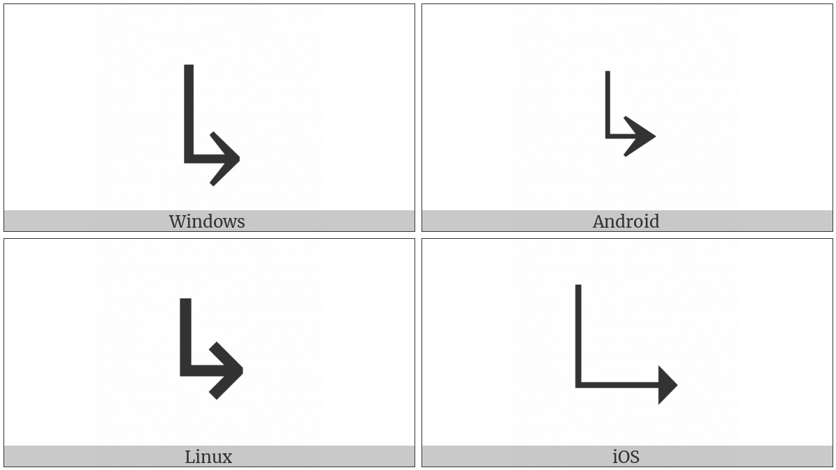 Downwards Arrow With Tip Rightwards on various operating systems