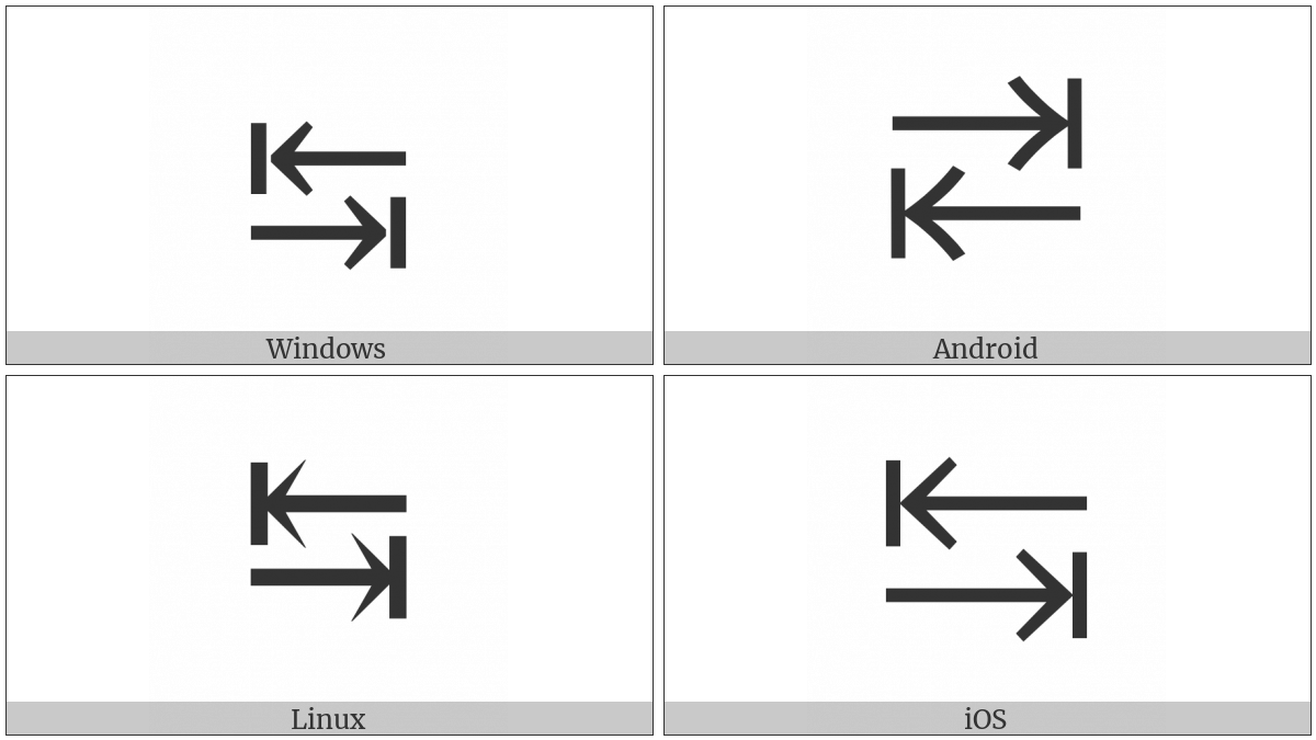 Leftwards Arrow To Bar Over Rightwards Arrow To Bar on various operating systems