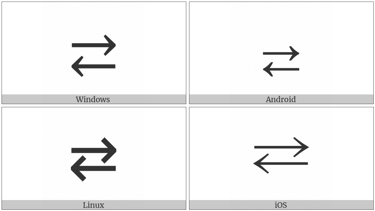Rightwards Arrow Over Leftwards Arrow on various operating systems