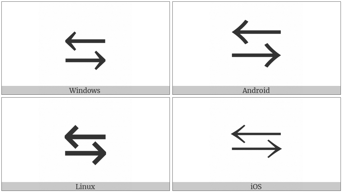 Leftwards Arrow Over Rightwards Arrow on various operating systems