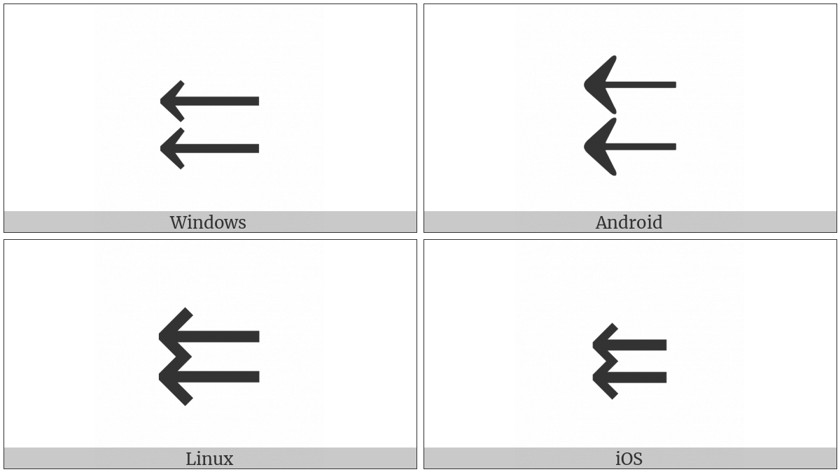 Leftwards Paired Arrows on various operating systems