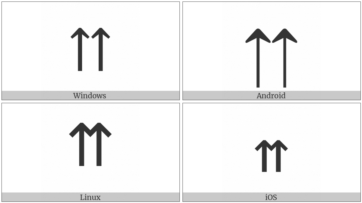 Upwards Paired Arrows on various operating systems