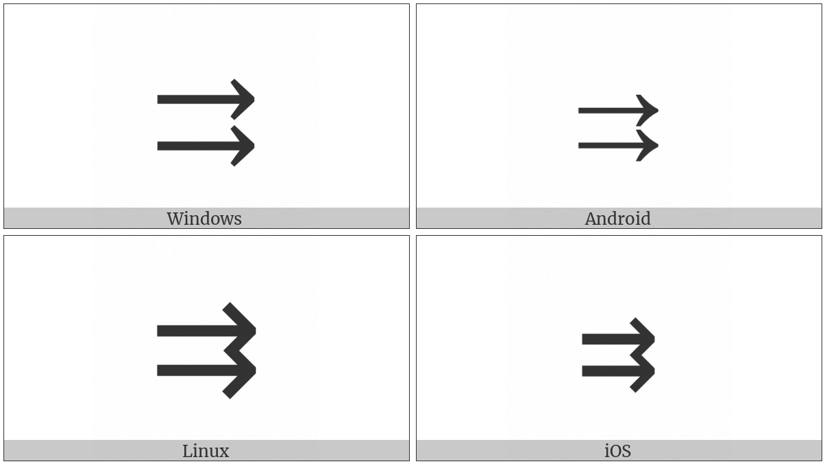 Rightwards Paired Arrows on various operating systems