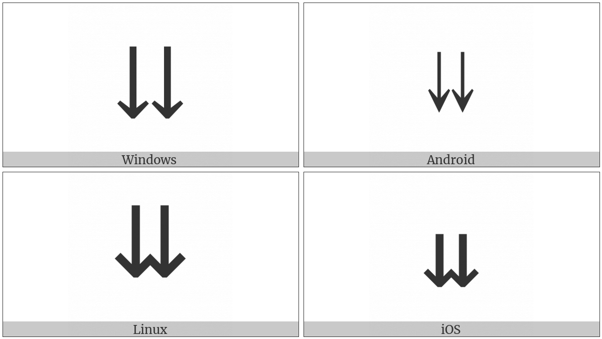Downwards Paired Arrows on various operating systems