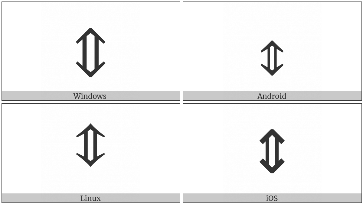Up Down Double Arrow on various operating systems