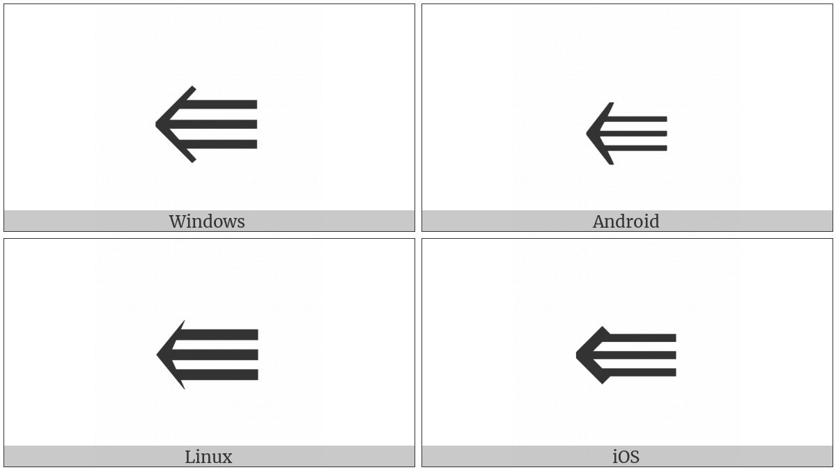 Leftwards Triple Arrow on various operating systems