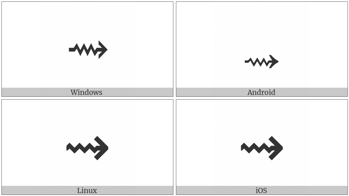 Rightwards Squiggle Arrow on various operating systems