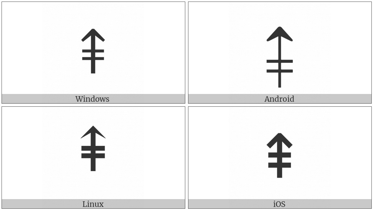 Upwards Arrow With Double Stroke on various operating systems