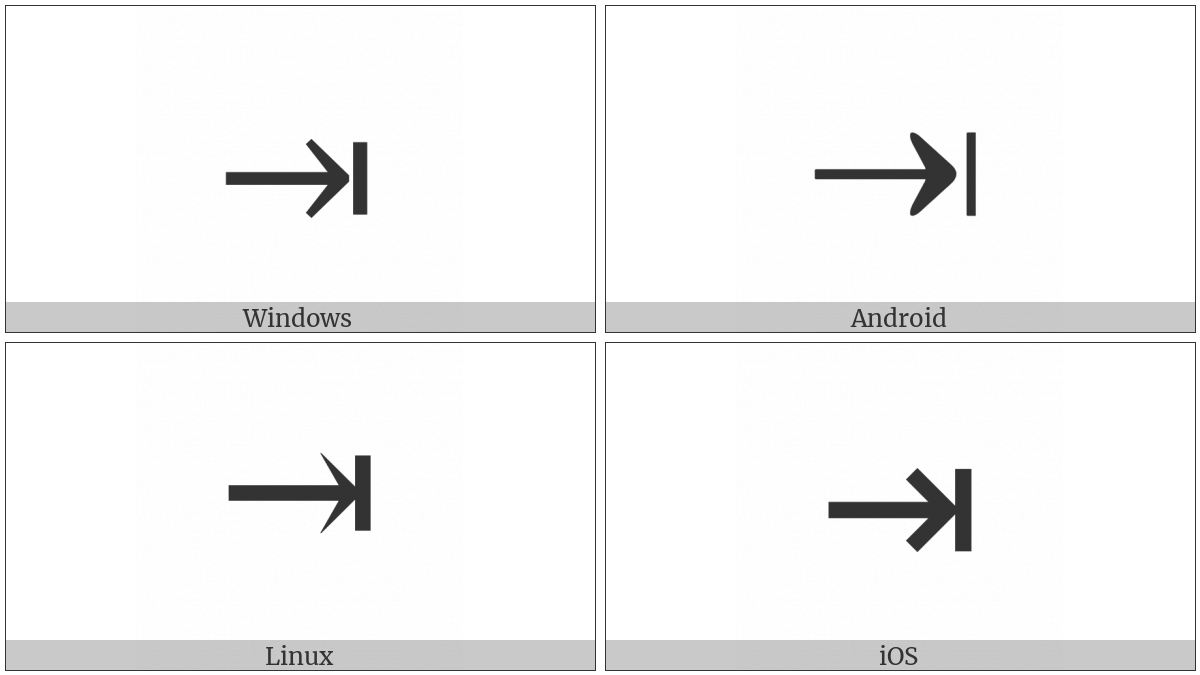 Rightwards Arrow To Bar on various operating systems