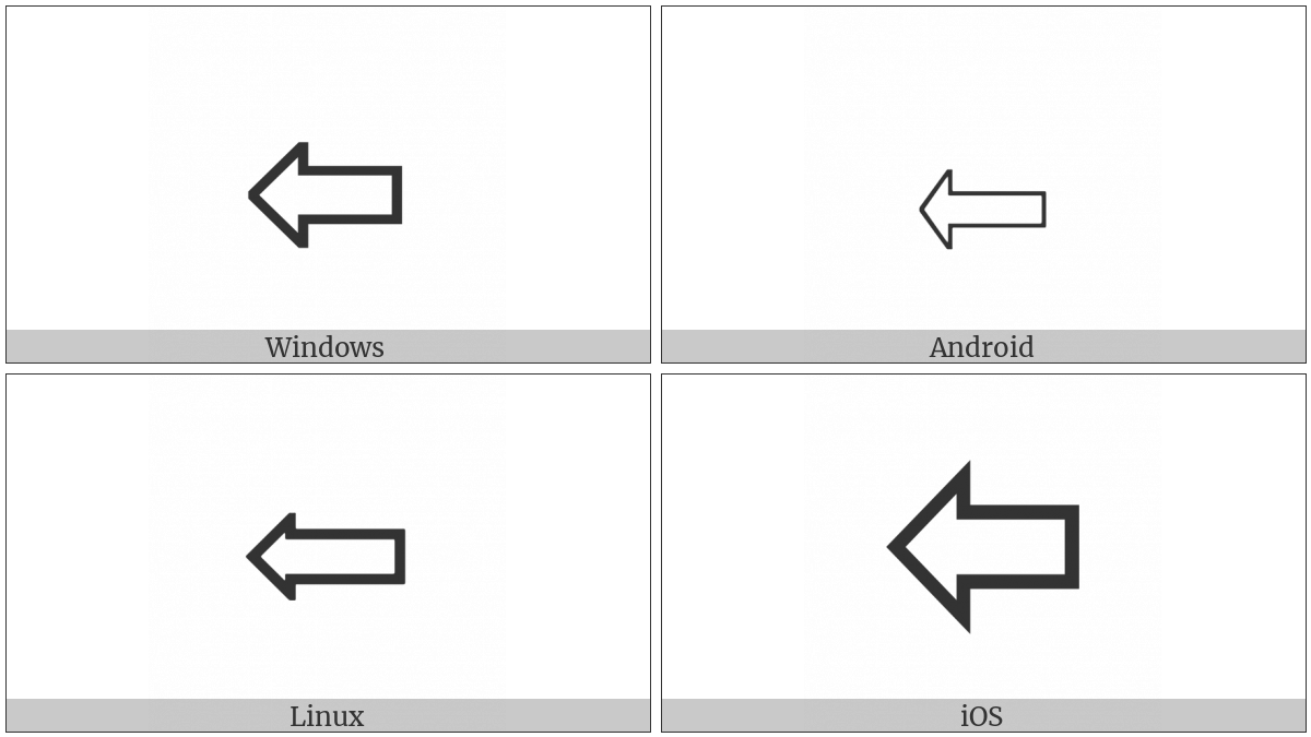 Leftwards White Arrow on various operating systems