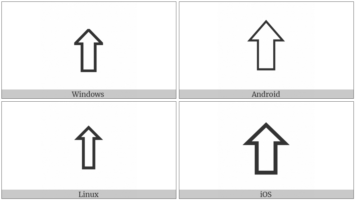 Upwards White Arrow on various operating systems