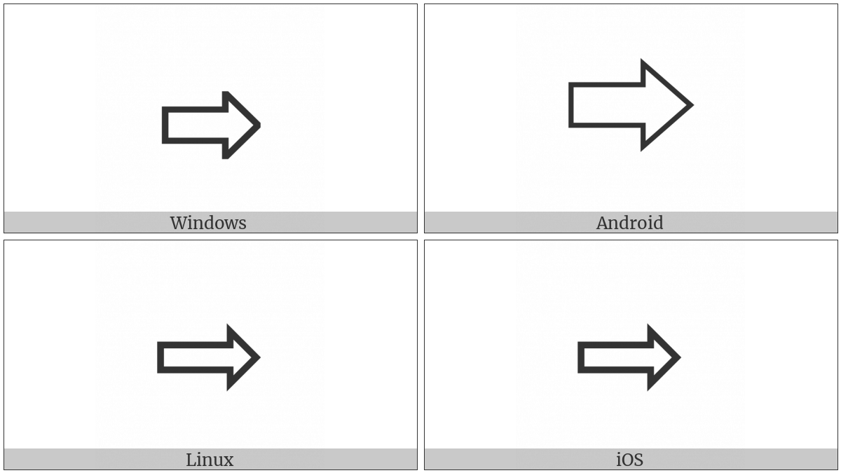 Rightwards White Arrow on various operating systems
