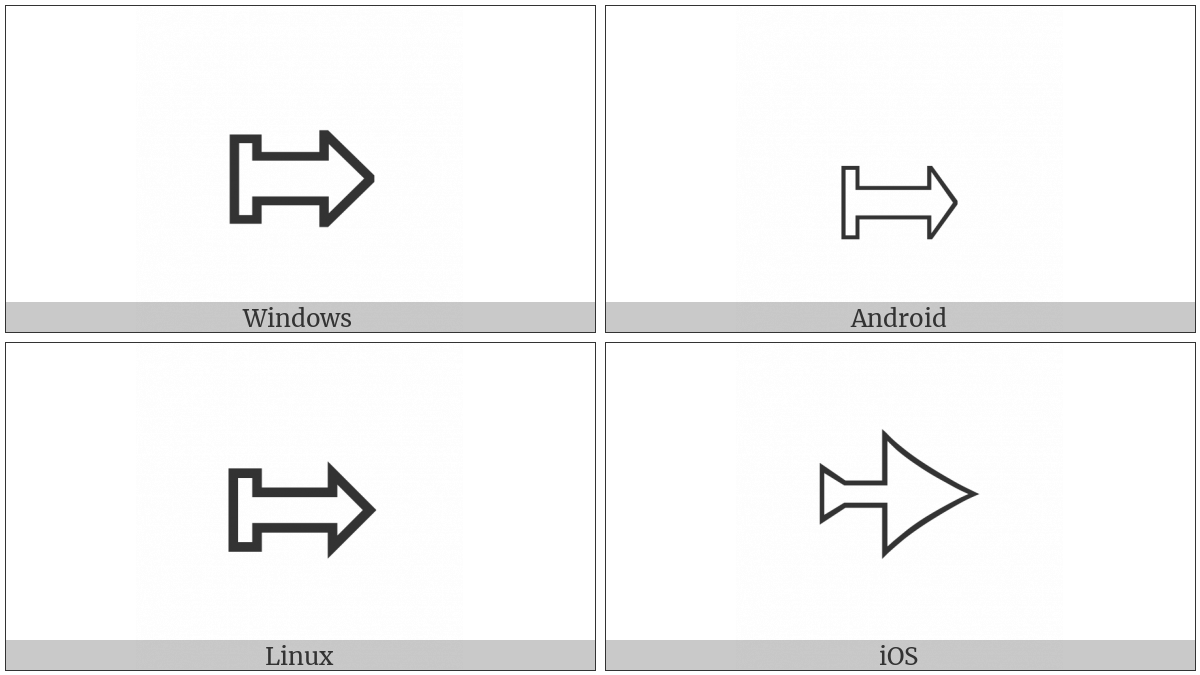 Rightwards White Arrow From Wall on various operating systems