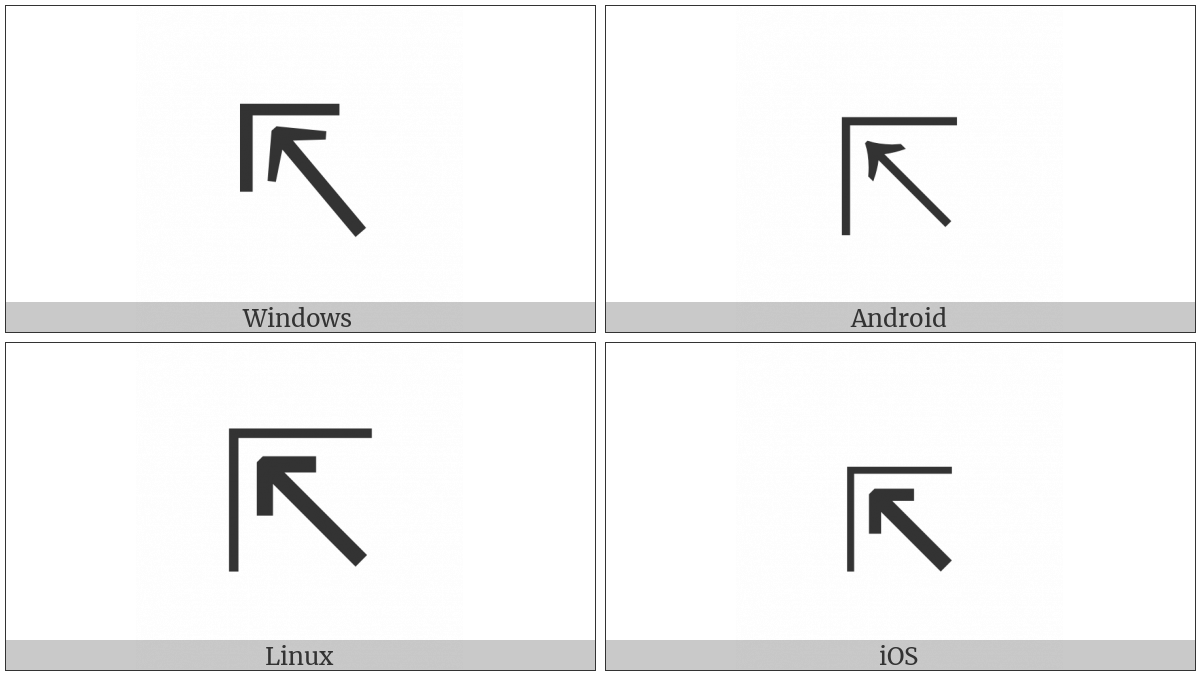 North West Arrow To Corner on various operating systems