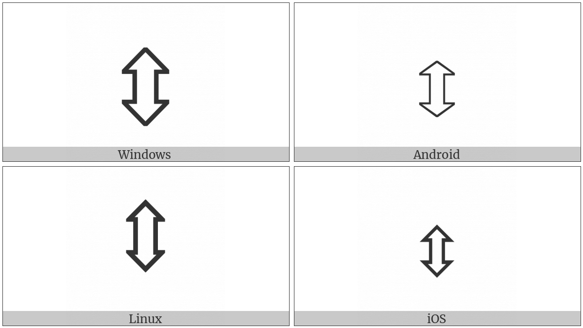 Up Down White Arrow on various operating systems