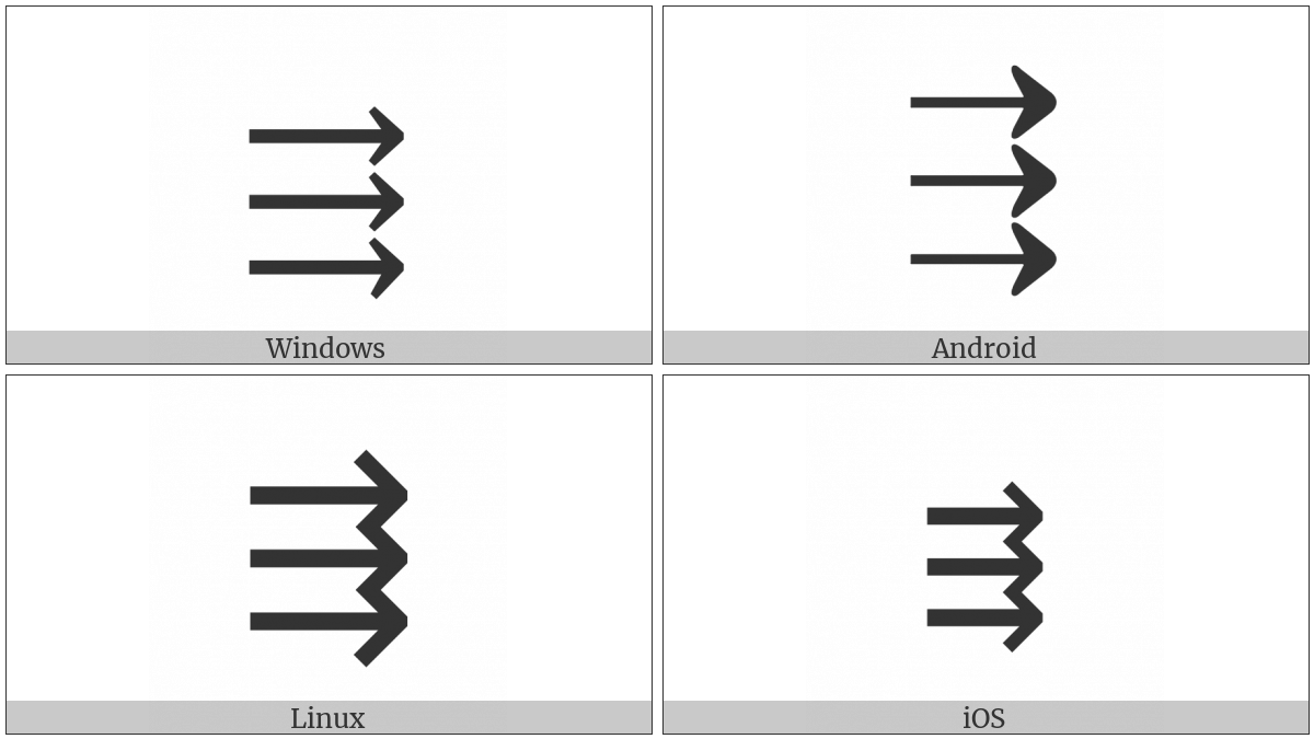 Three Rightwards Arrows on various operating systems