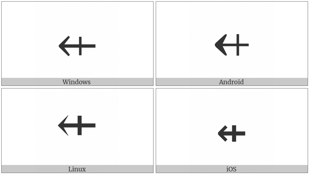 Leftwards Arrow With Vertical Stroke on various operating systems