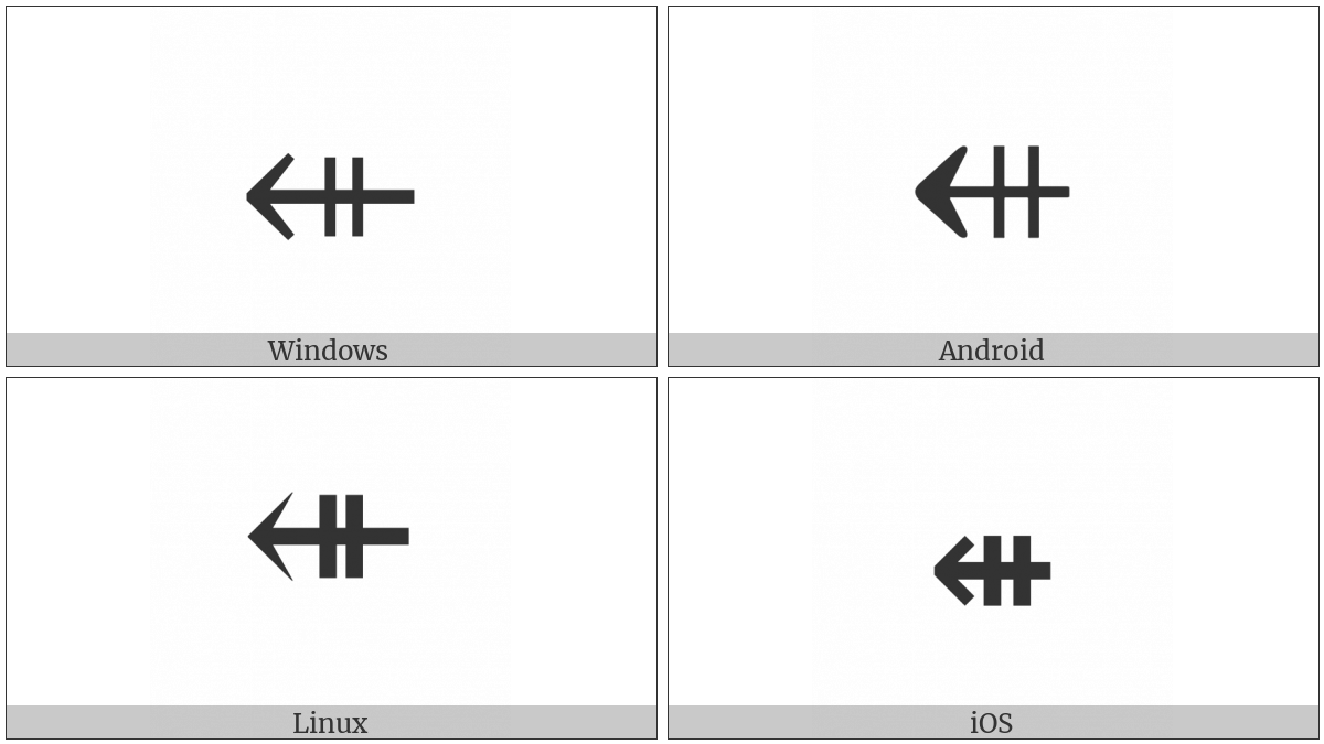 Leftwards Arrow With Double Vertical Stroke on various operating systems