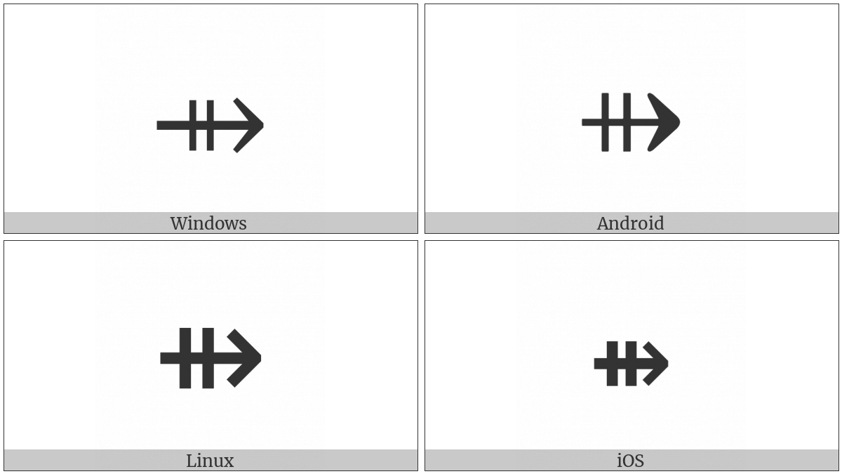 Rightwards Arrow With Double Vertical Stroke on various operating systems