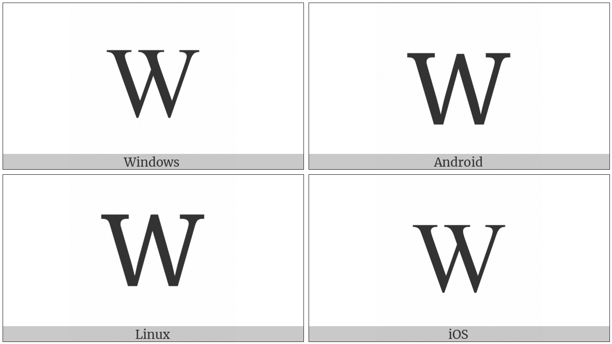 Latin Capital Letter W on various operating systems