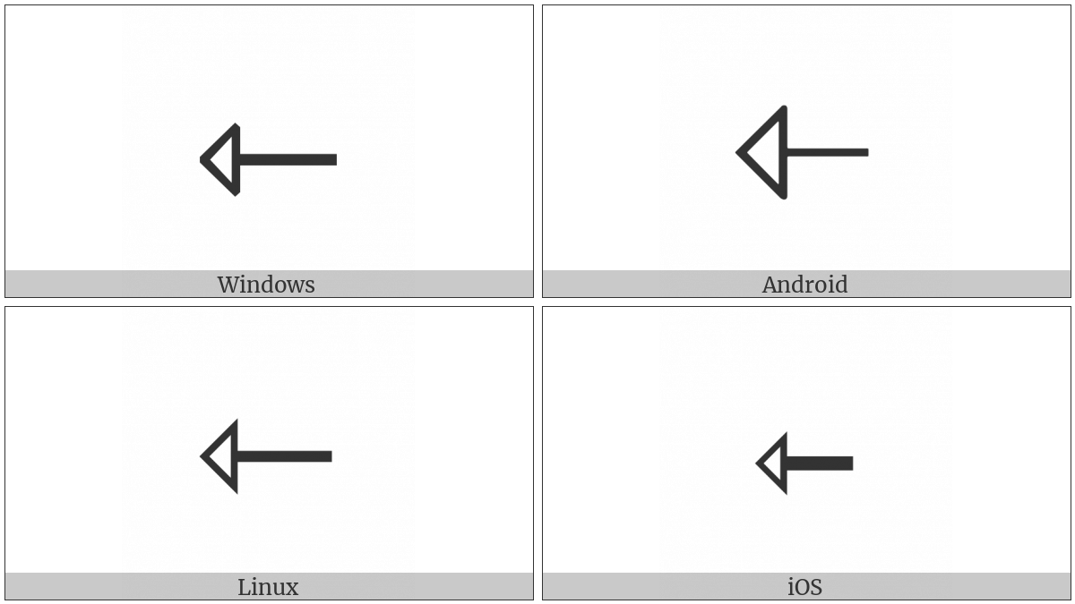 Leftwards Open-Headed Arrow on various operating systems