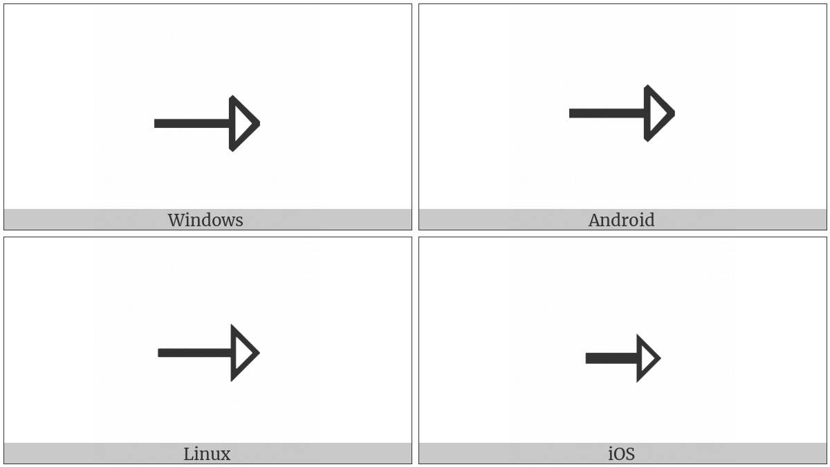 Rightwards Open-Headed Arrow on various operating systems